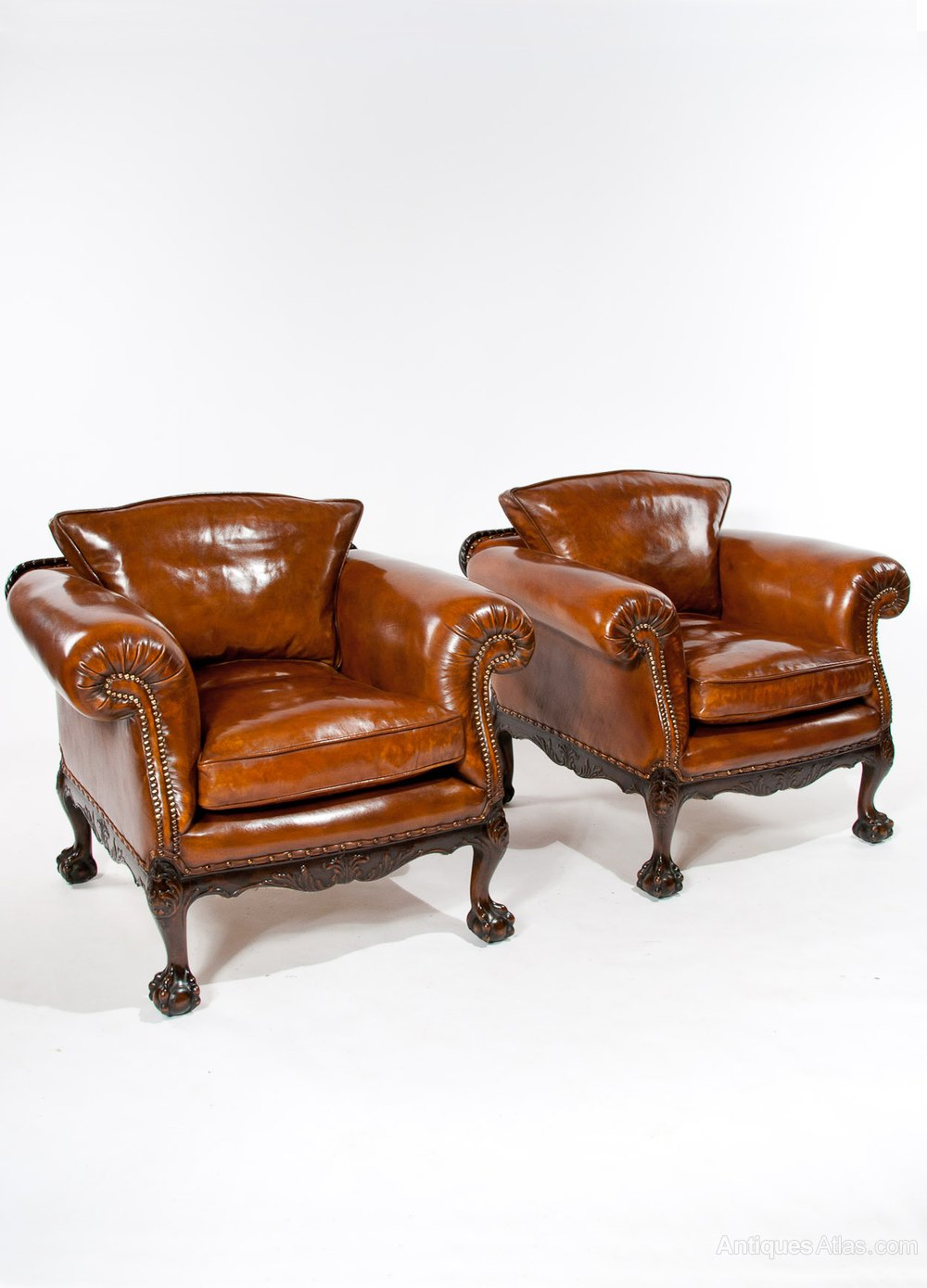 A Wonderful Pair Of Antique Leather Armchairs Antiques Atlas