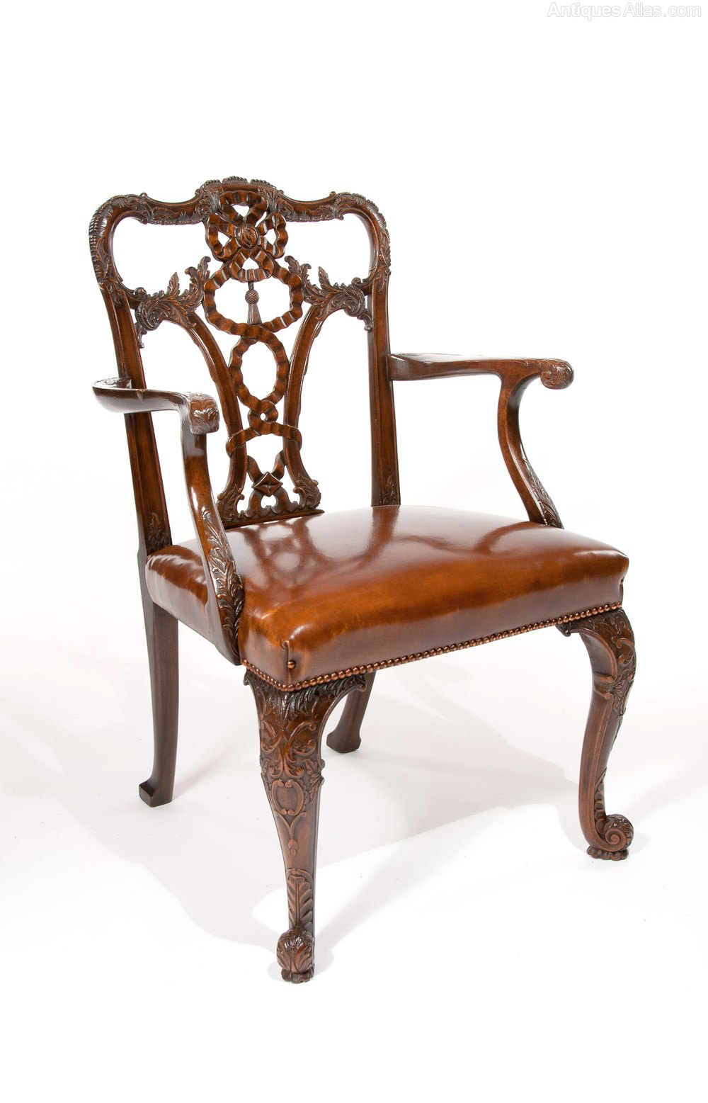 An Extremely Well Carved 19th Century Desk Chair