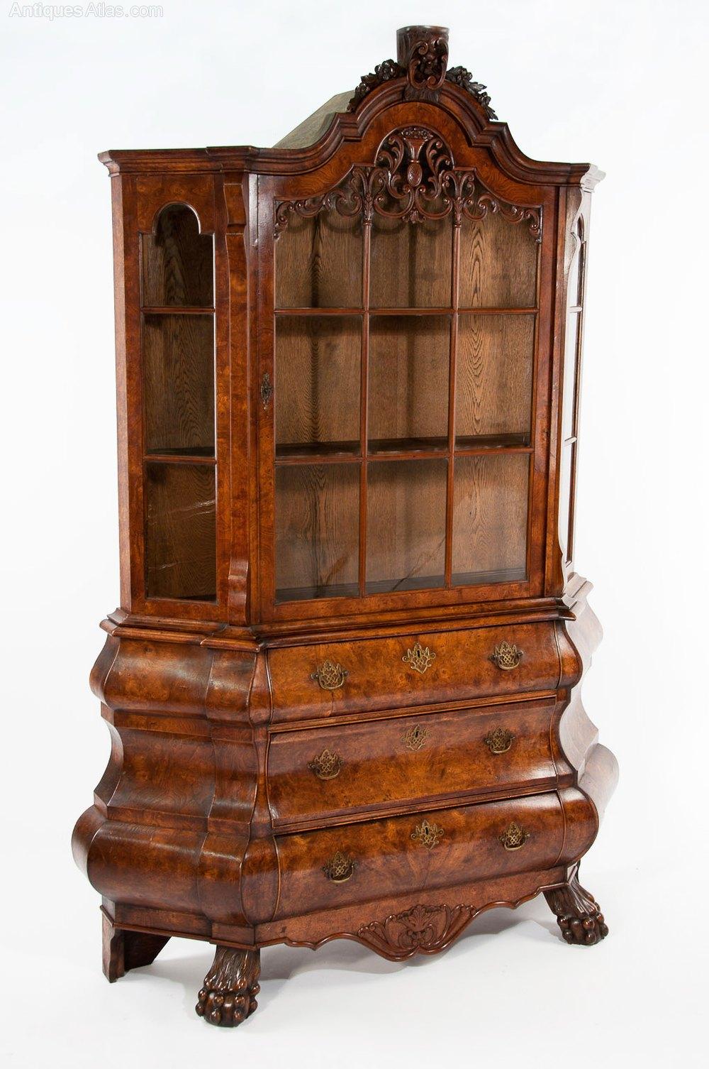 Antique dutch burr elm bombay display cabinet antiques atlas for Antique display cabinet