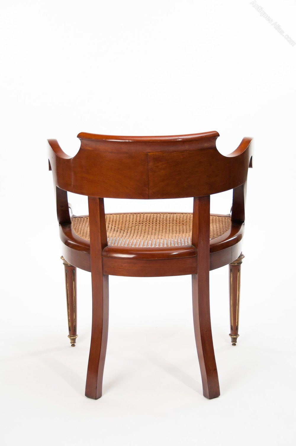 Antique french mahogany and brass desk chair antiques atlas for Antique office chair
