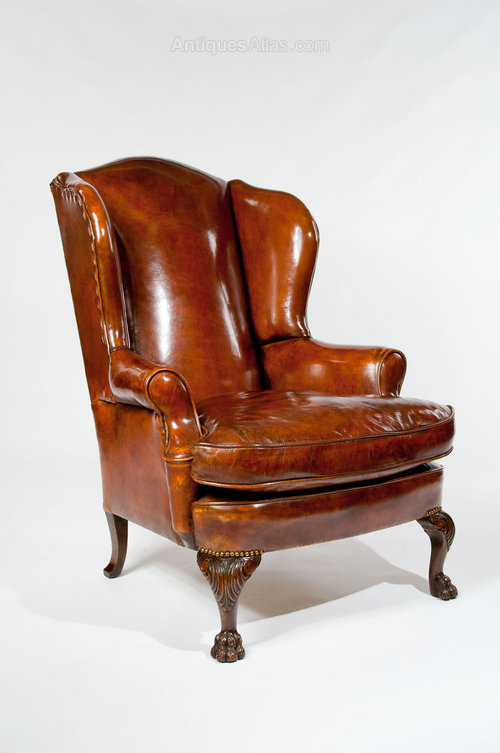 Antique Leather Upholstered Wing Chair - Antiques Atlas