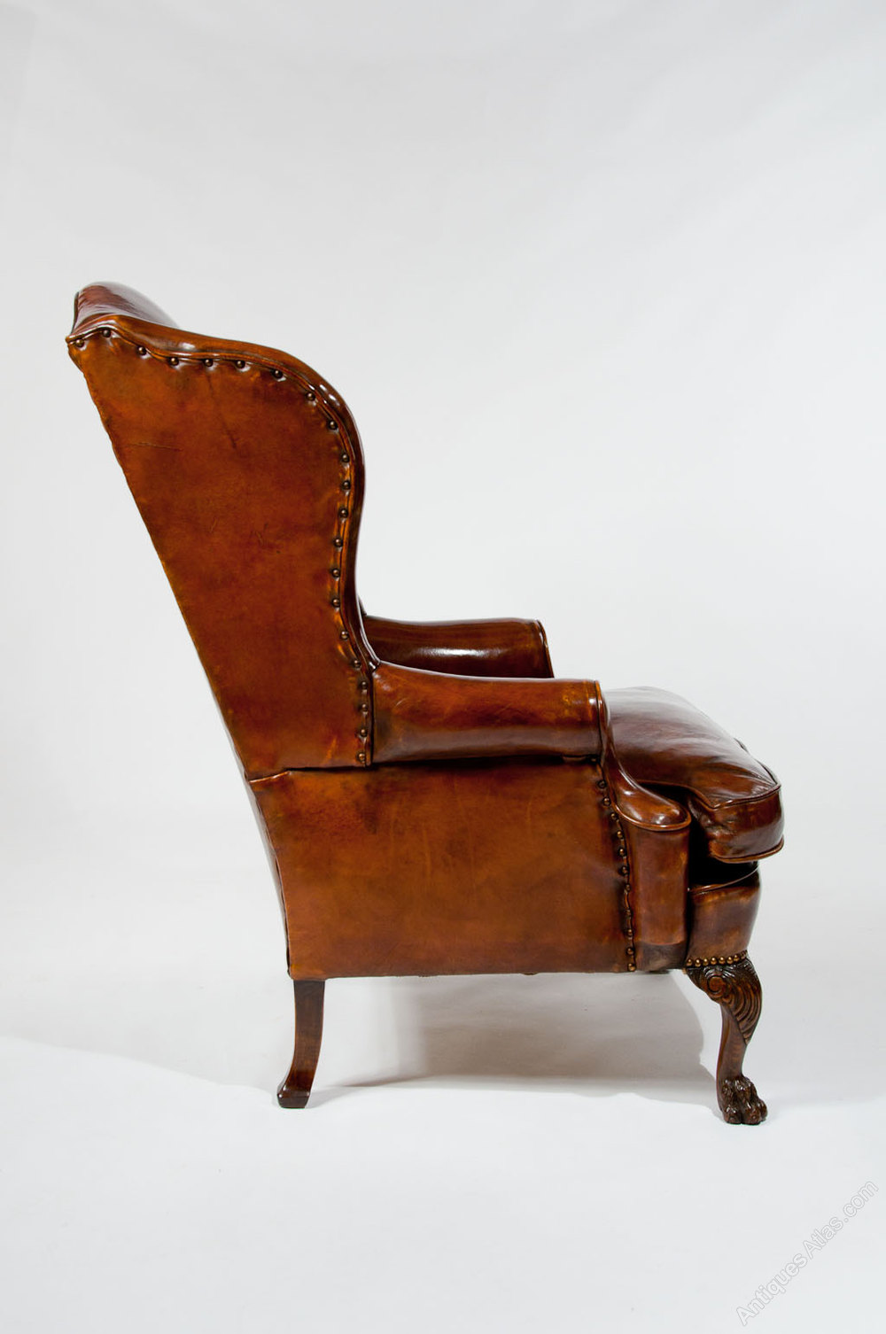 Antique Leather Upholstered Wing Chair Antiques Atlas