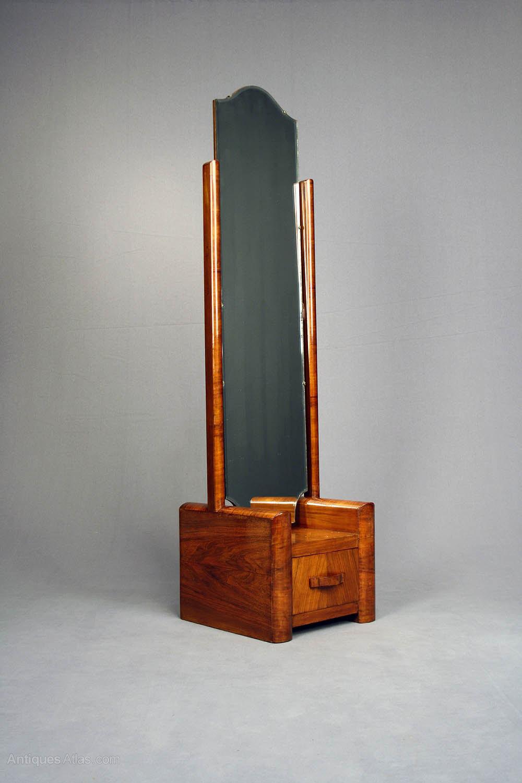 Antiques Atlas Art Deco Walnut Cheval Mirror