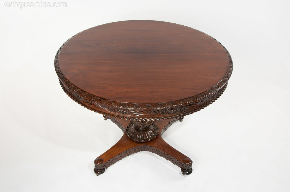 fine 19th c anglo indian rosewood carved table antiques atlas