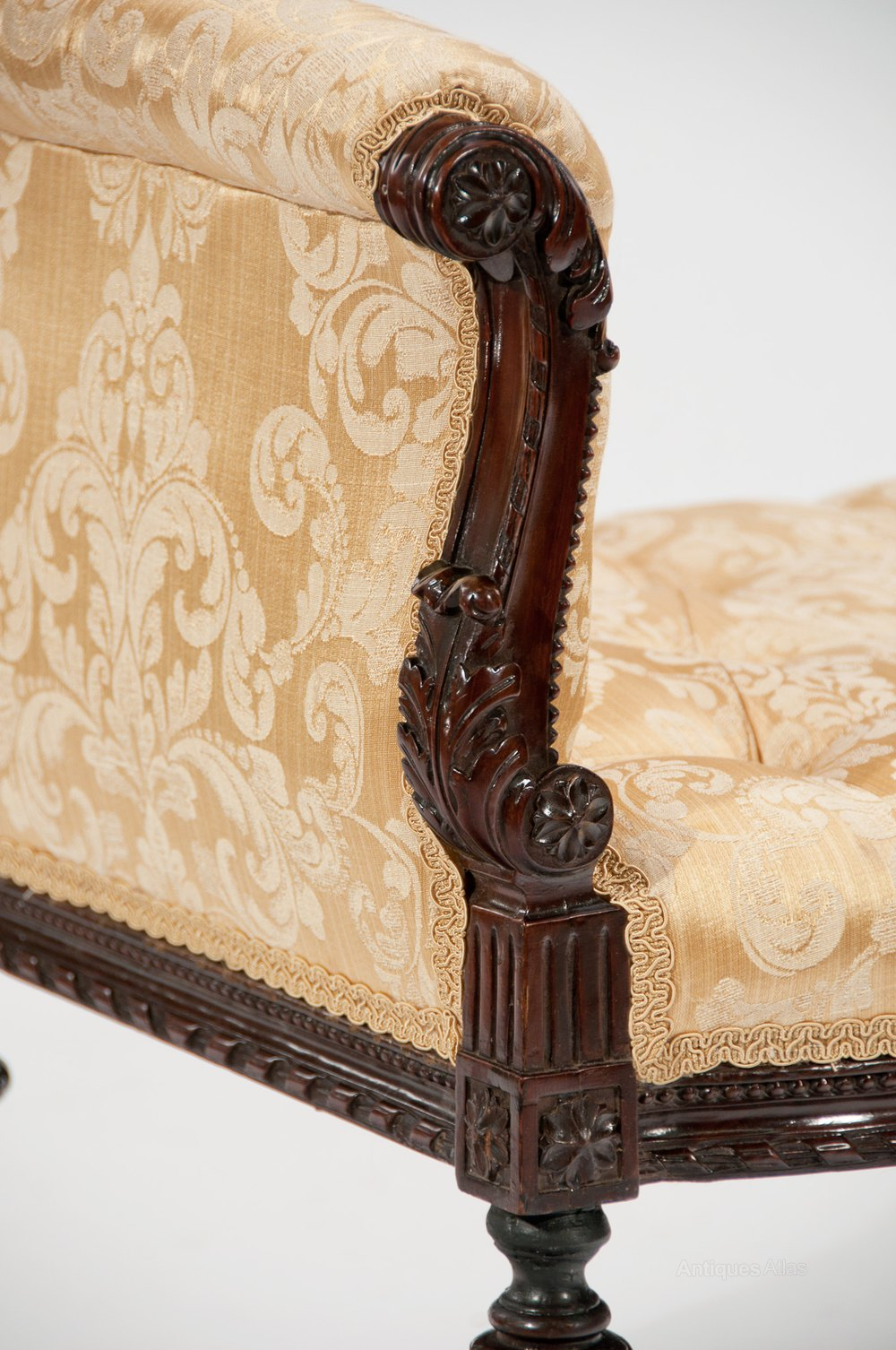 Finely carved 19th century scroll end window seat for Window scroll