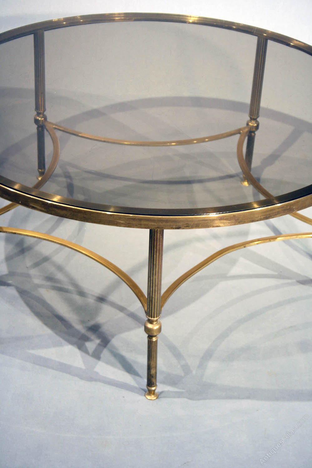 Antiques atlas large brass round coffee table for Big glass coffee table