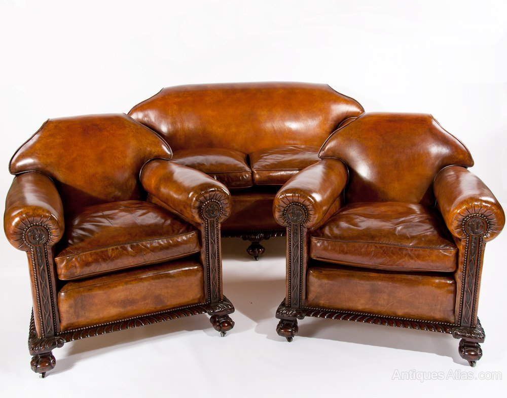 Magnificent Victorian Leather Sofa And Chairs 3 Pc