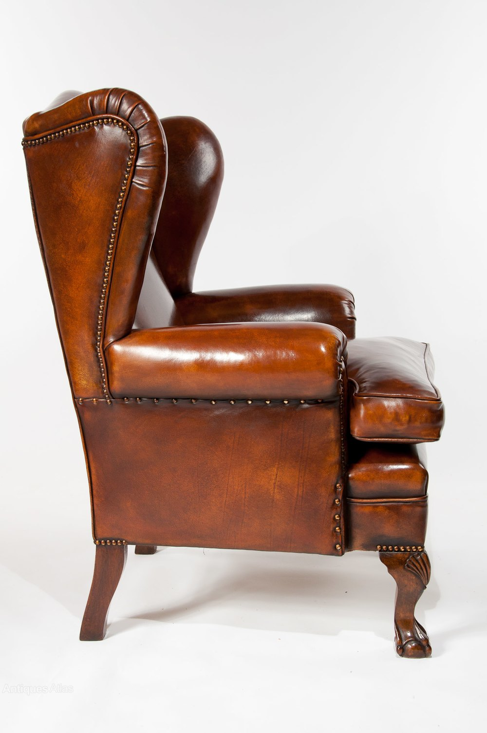 Pair Of Walnut Leather Wing Chairs 19thC - Antiques Atlas