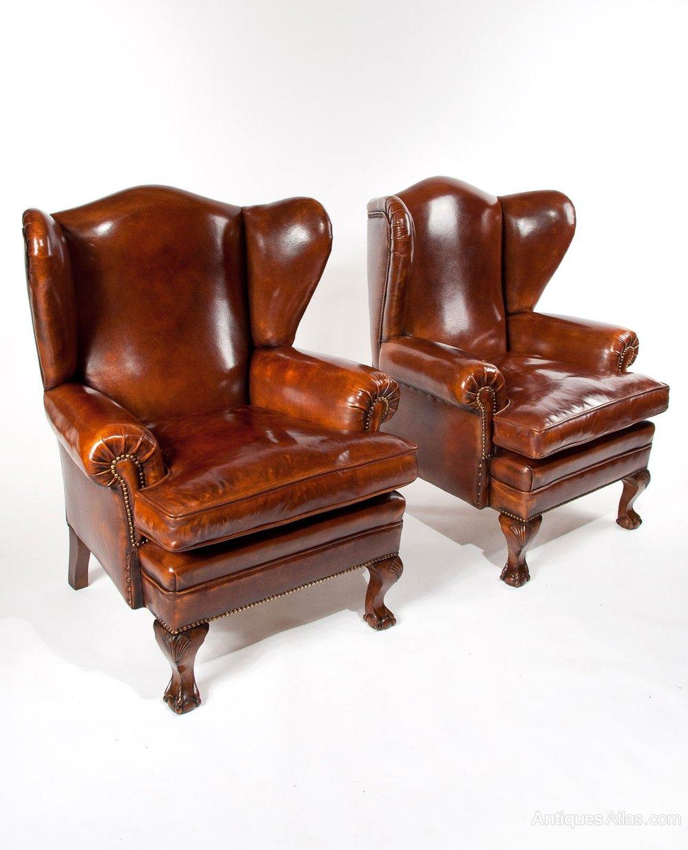 Pair of walnut leather wing chairs 19thc antiques atlas for Antique leather chairs