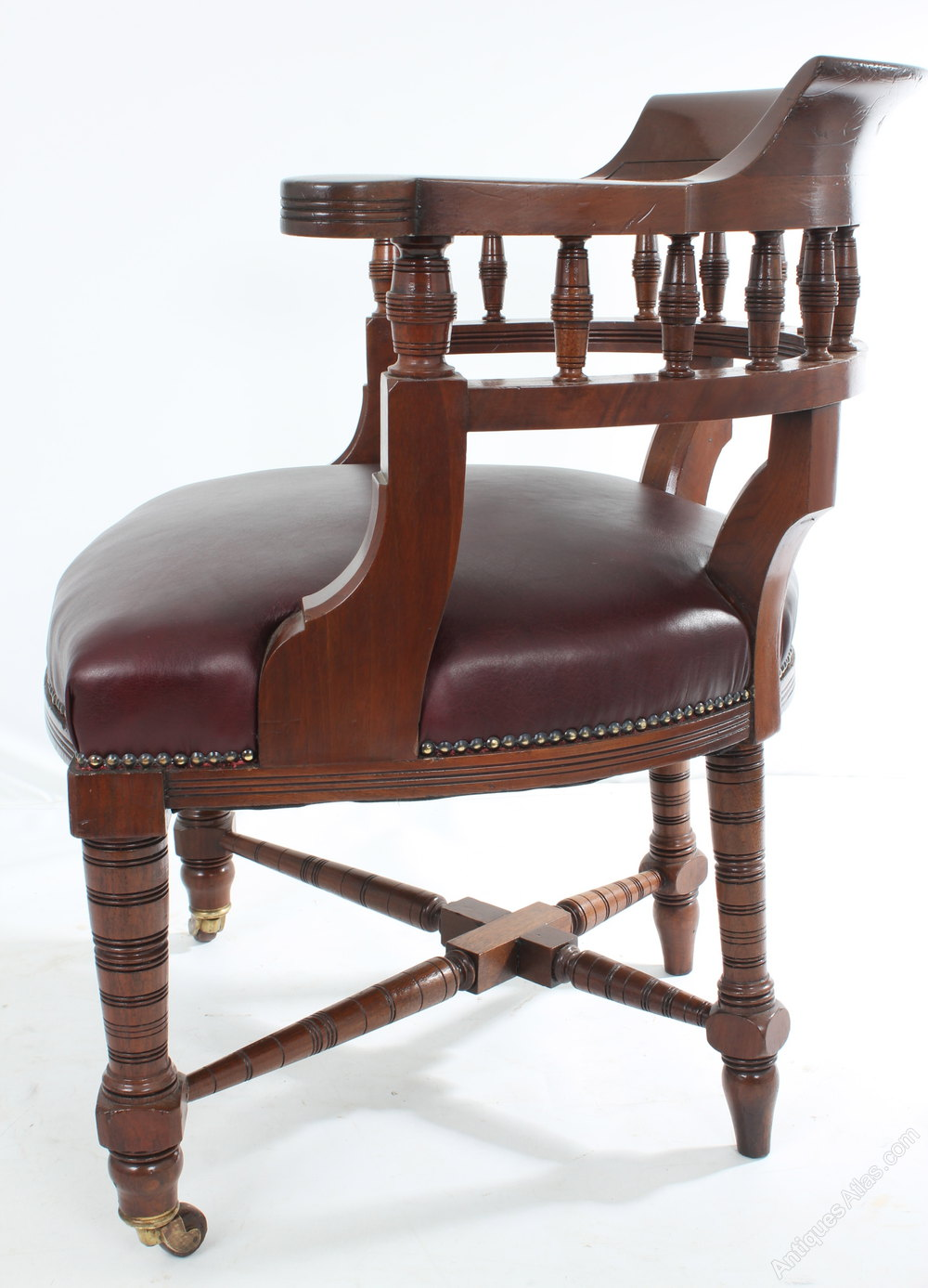Antique mahogany leather desk chair antiques atlas for Antique office chair