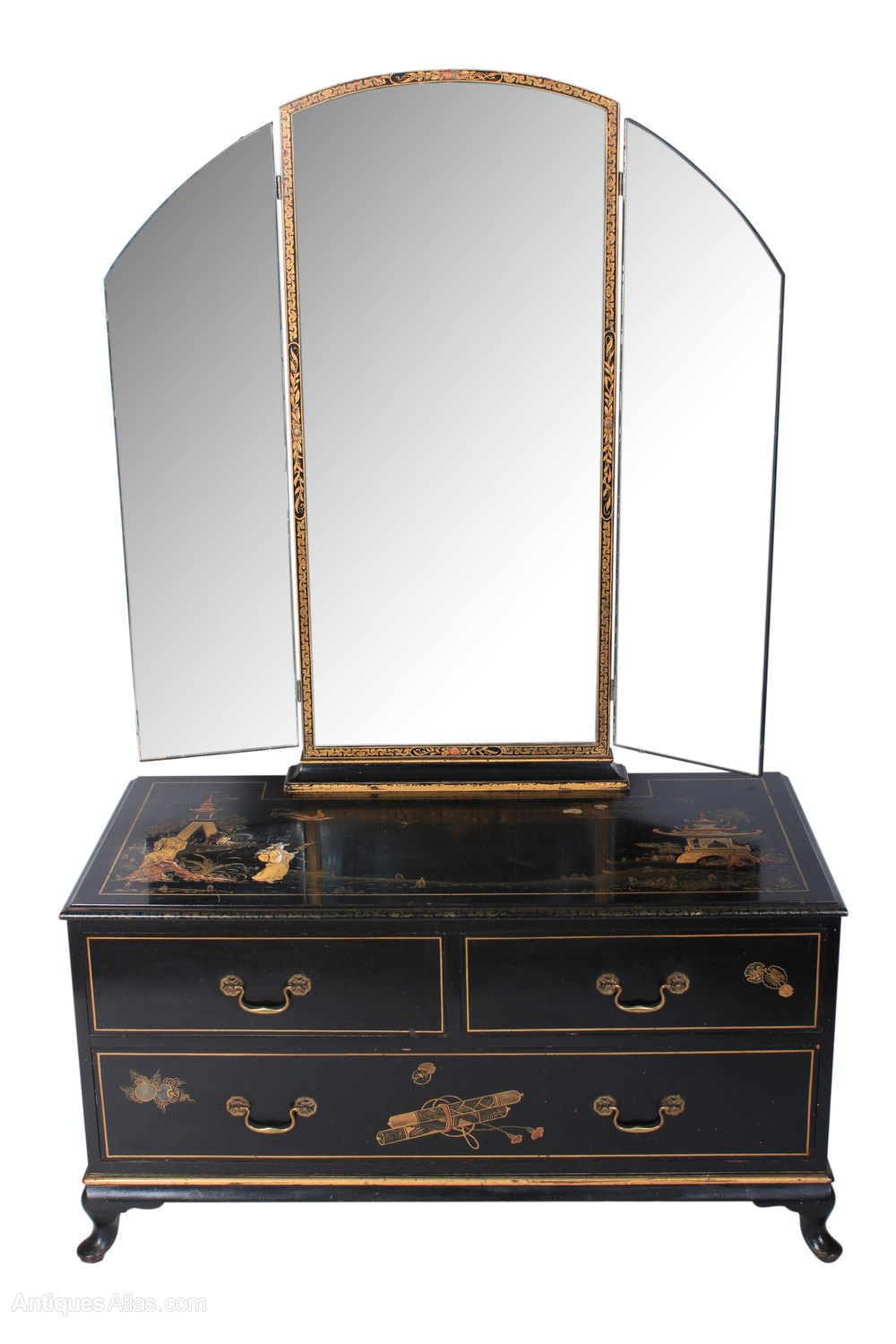 Black japanned chinoiserie dressing table antiques atlas