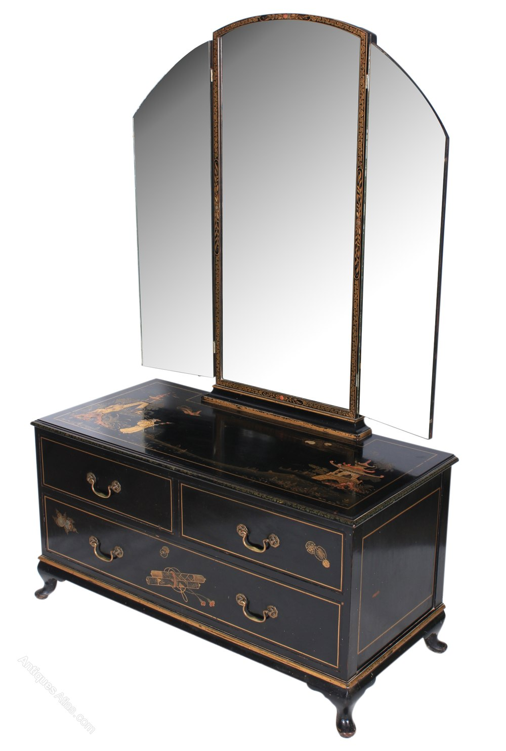 Antiques atlas louis dressing table - Dari Black High Gloss Double Dressing Table