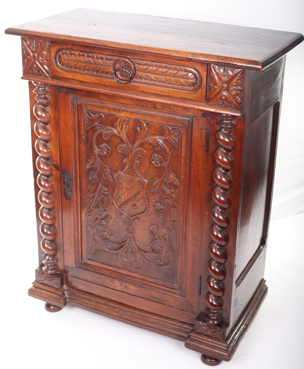 Carved mahogany side cabinet antiques atlas for Carved kitchen cabinets