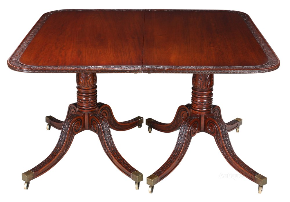 Carved mahogany twin pillar dining table 9x4ft antiques for Pillar dining table