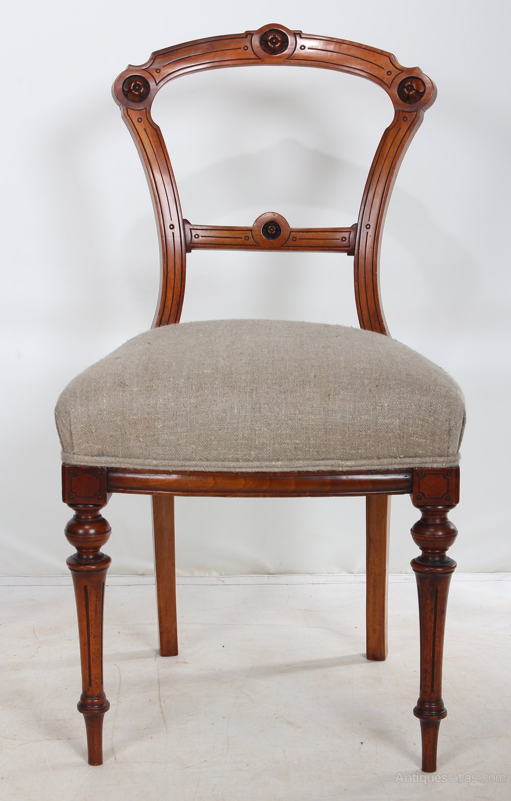 Antique overstuffed chairs - Set Of 6 Walnut Dining Chairs Antiques Atlas