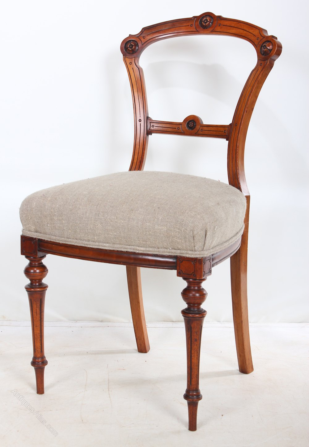 Set of 6 walnut dining chairs antiques atlas for Set of 6 dining chairs