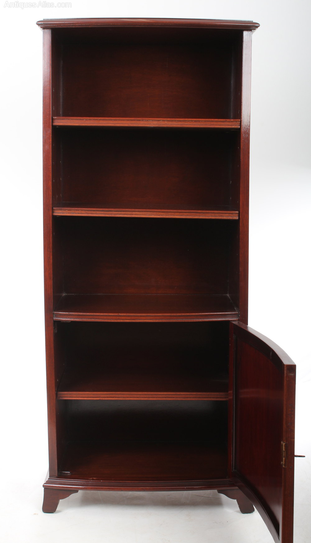 Slim Mahogany Bow Fronted Open Bookcase - Antiques Atlas