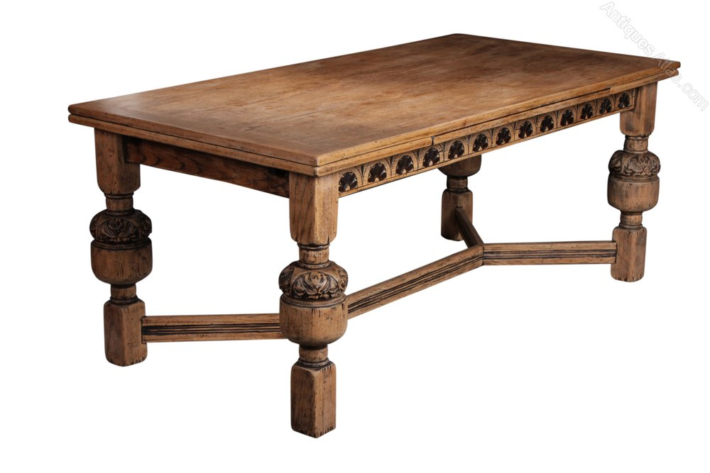 Solid Light Oak Drawer Leaf Refectory Dining Table: dining table with drawer