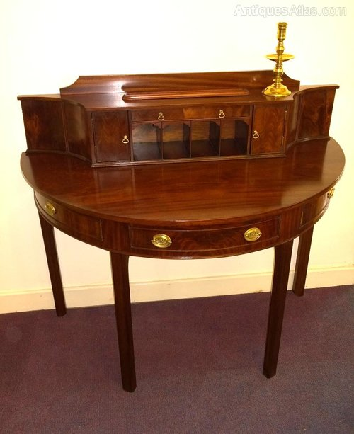 Demi lune georgian writing table in mahogany antiques atlas for Table demi lune extensible