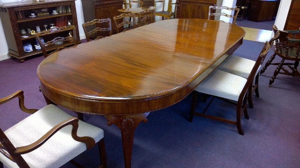 Large mahogany dining table seat 10 12 antiques atlas for Large dining table seats 10