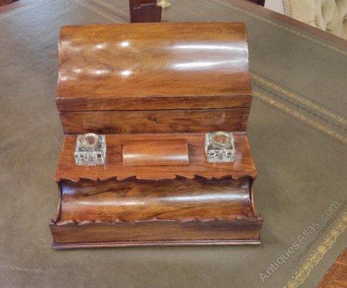 Superb Walnut Desk tidy. Stationery box Antique ... - Antiques Atlas - Superb Walnut Desk Tidy. Stationery Box