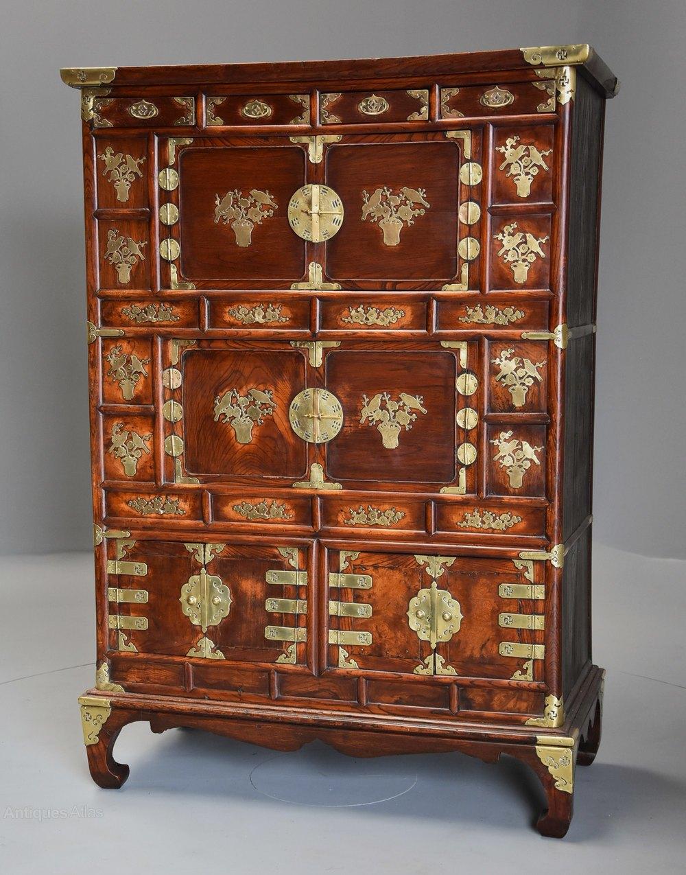 19th Century Three Tier Korean Elm Cabinet Antiques Atlas