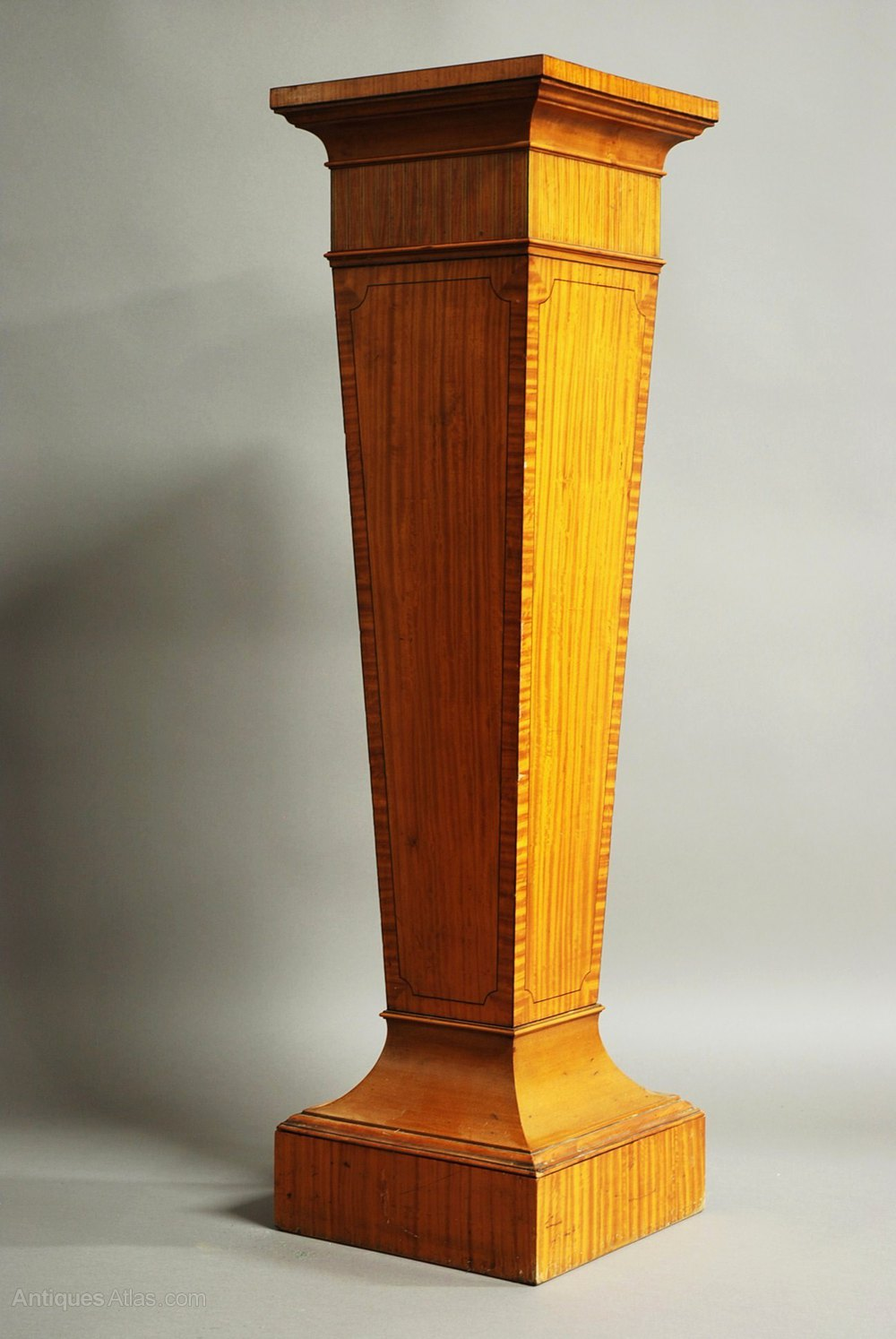 Decorative Satinwood Pedestal Of Tapered Form Antiques Atlas