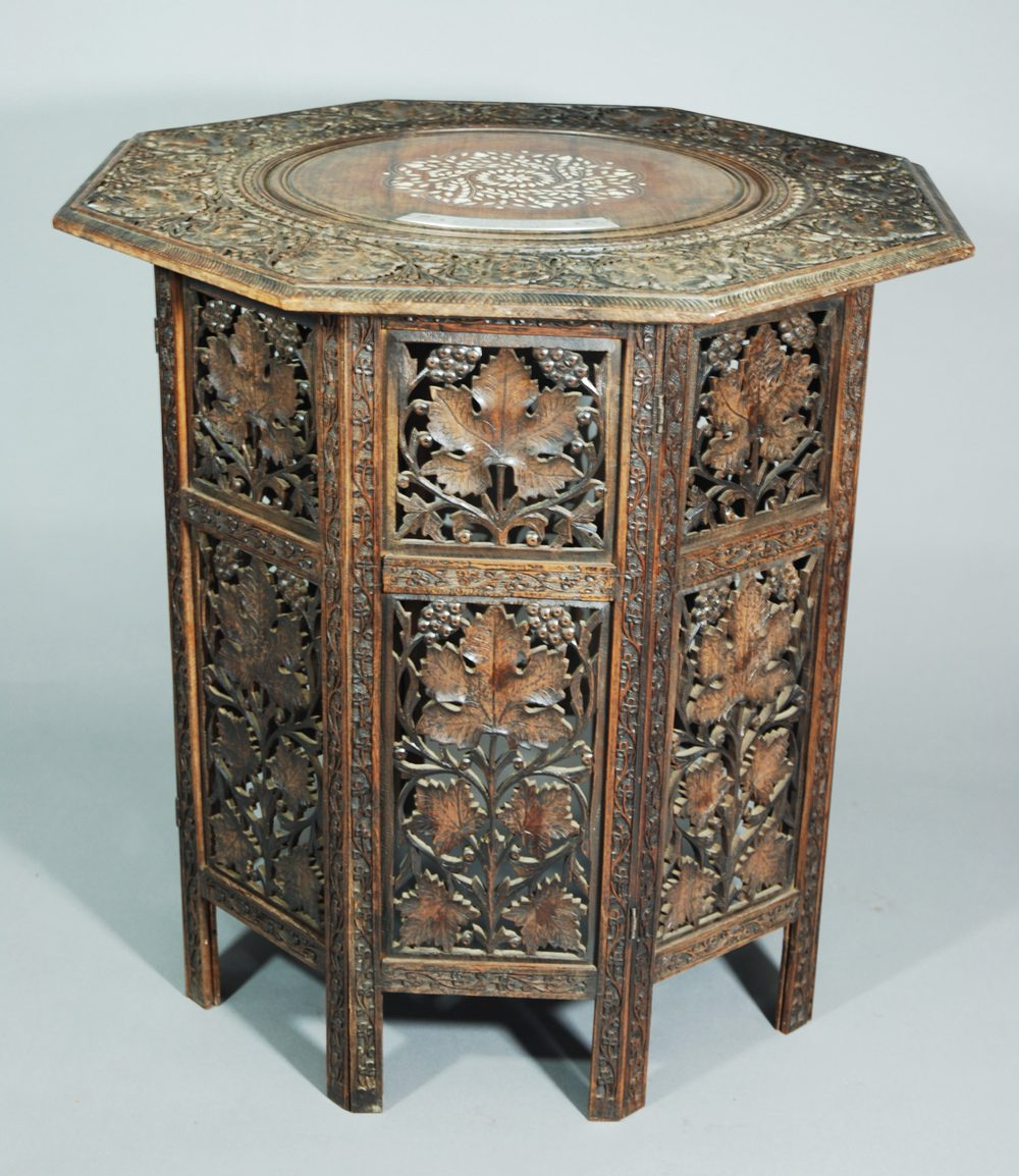 Eastern Carved Amp Inlaid Octagonal Occasional Table