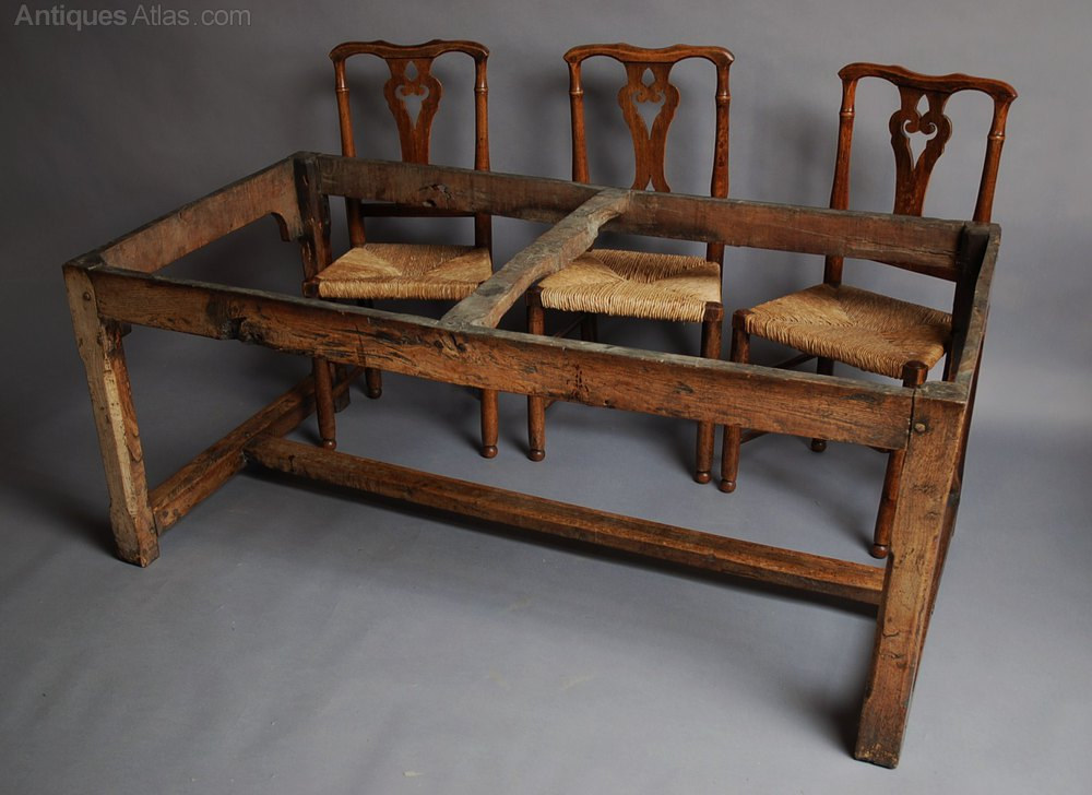 Farmhouse Table And Set Six Chairs Antiques Atlas