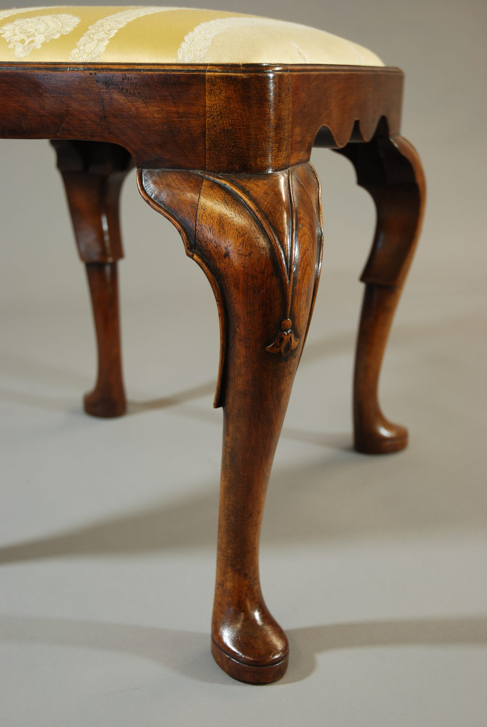 Fine Quality Walnut Stool In The Queen Anne Style