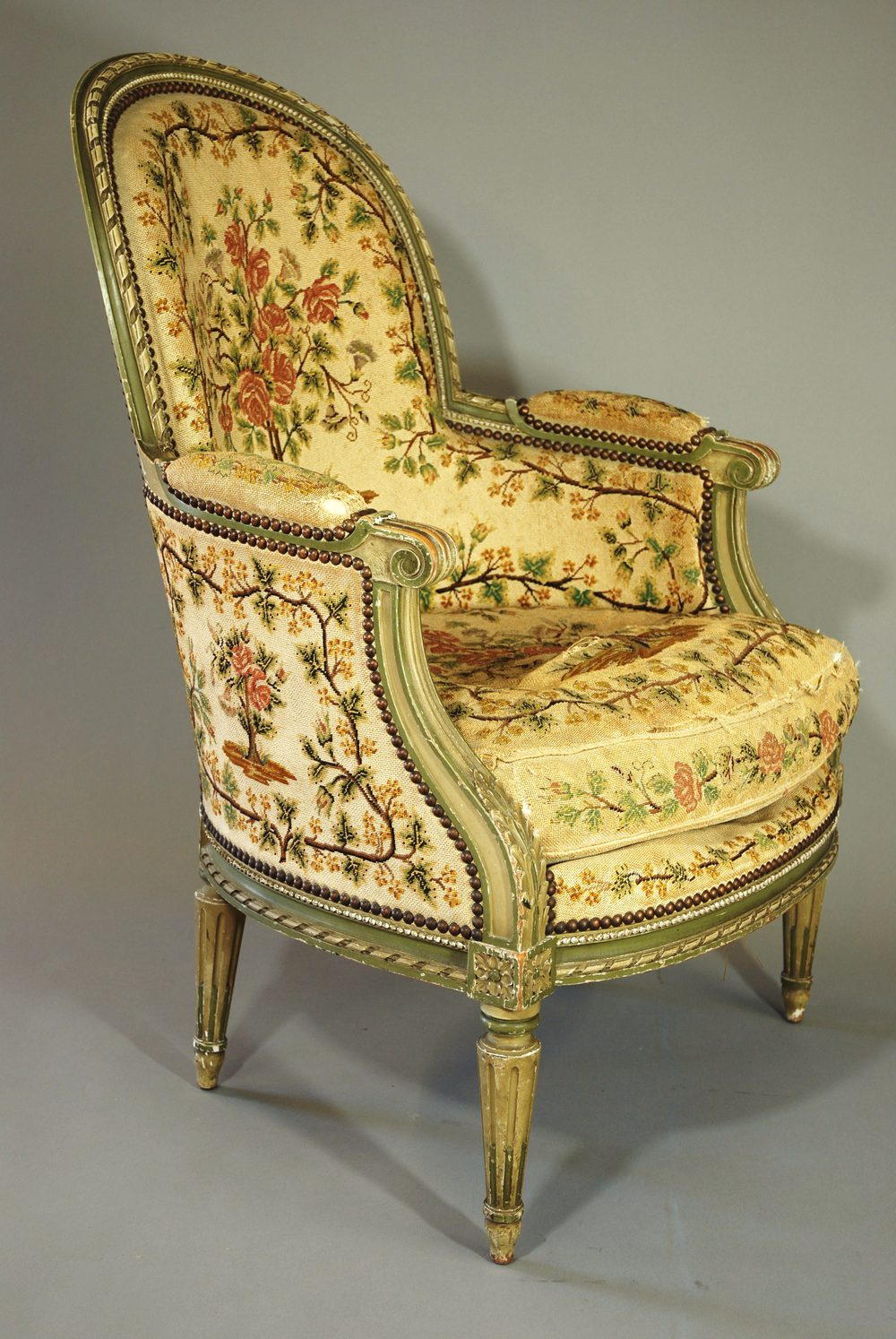 French Painted Armchair With Tapestry Upholstery ...