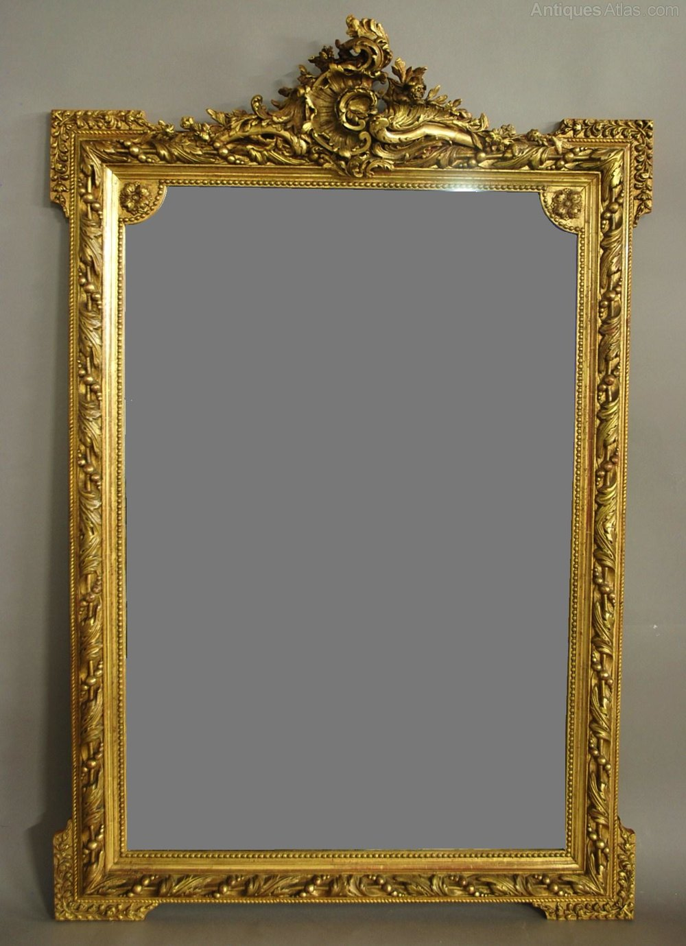 Antiques atlas large 19th century ornate french gilt mirror for What is a gilt mirror