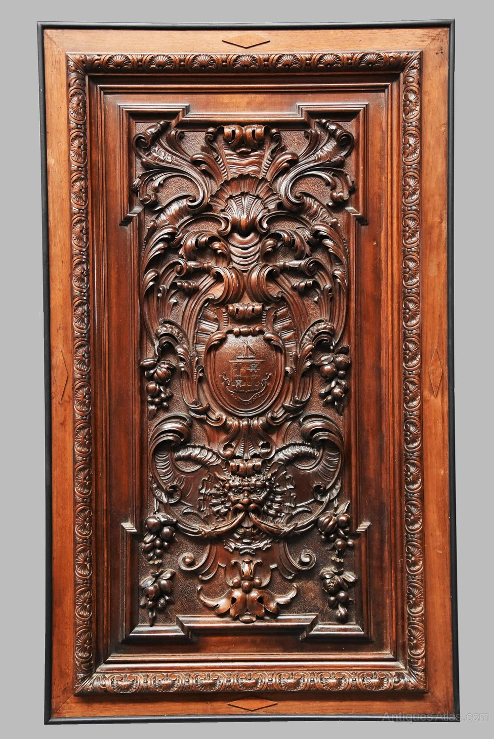 Vintage Wood Paneling: Large French 19thc Finely Carved Walnut Panel