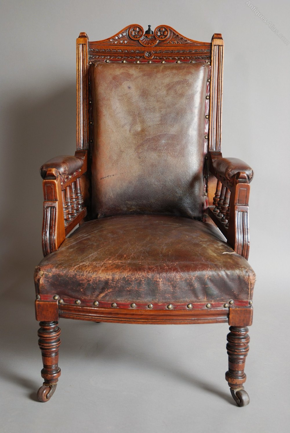 Late 19thc Mahogany And Leather Child's Armchair ...