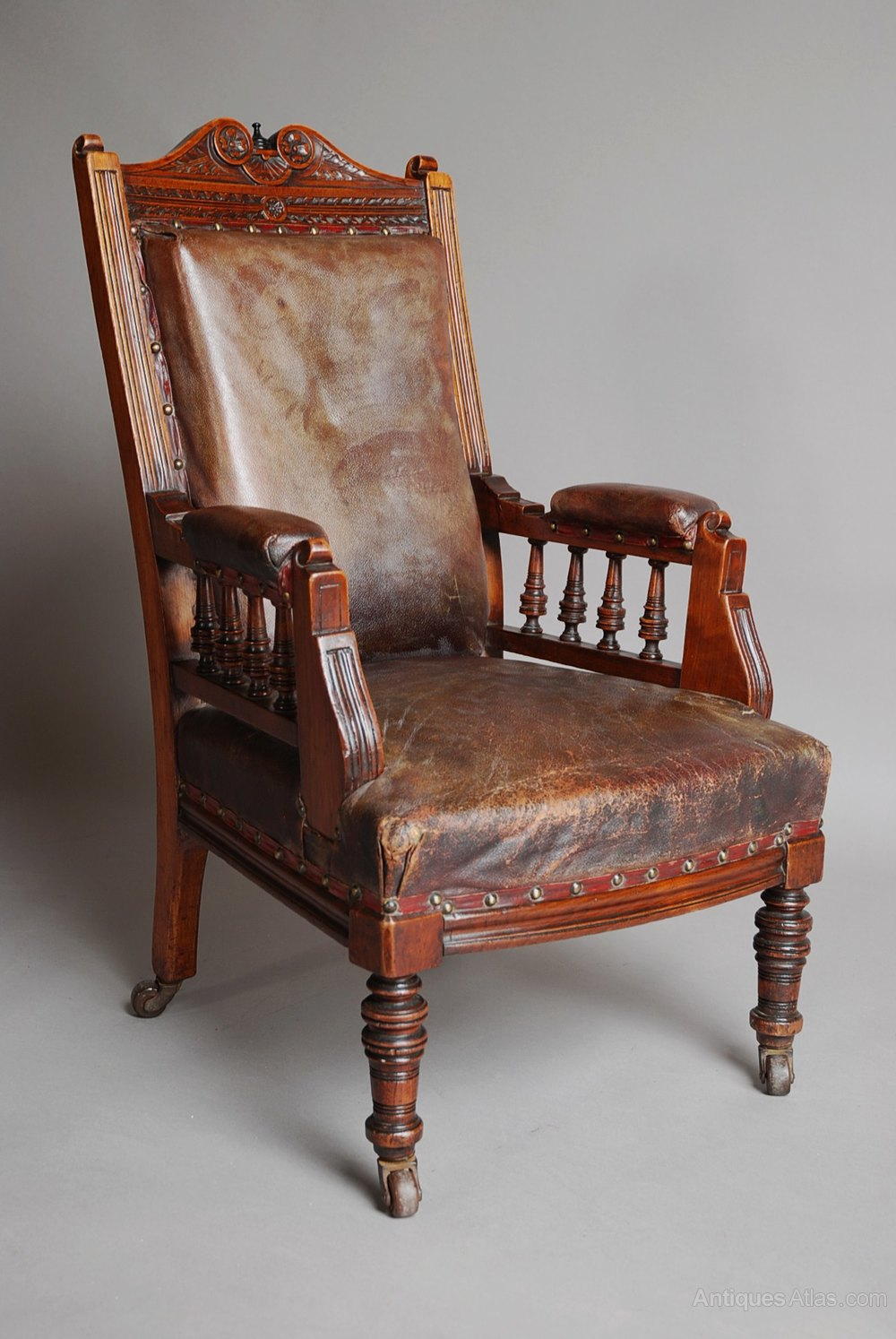 Late 19thc Mahogany And Leather Child S Armchair