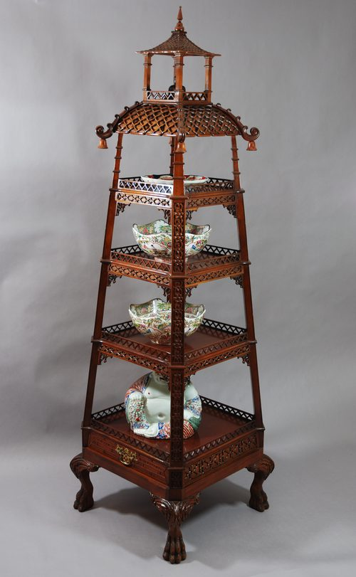antiques atlas mahogany chinese pagoda style 4 tier etagere. Black Bedroom Furniture Sets. Home Design Ideas
