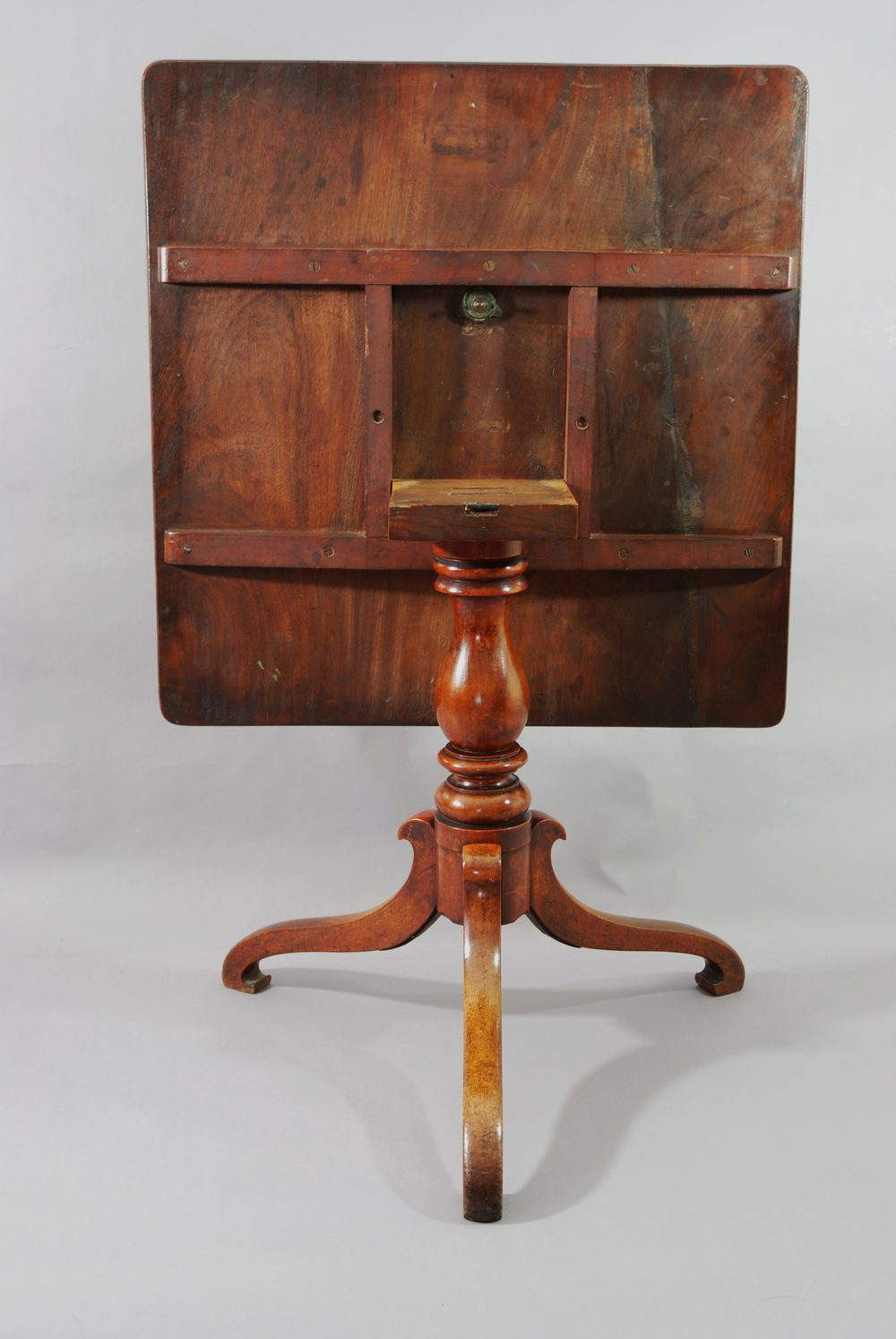 Mahogany Square Tilt Top Table With Tripod Base Antiques