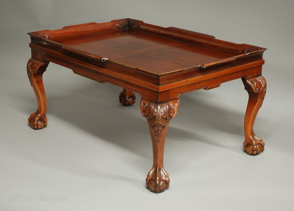 Antiques atlas mahogany tray top coffee table with for Trays on coffee tables