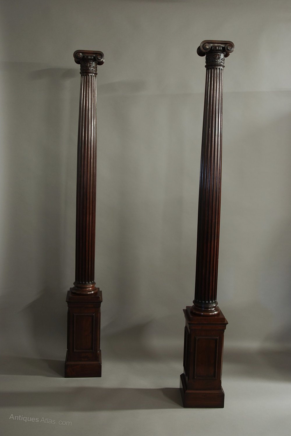 Antiques atlas pair of decorative walnut ionic columns for Decorative column