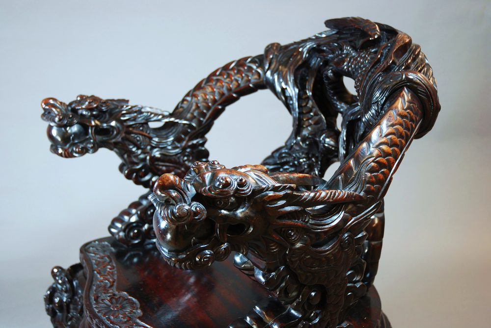 Pair Of Heavily Carved Chinese Dragon Armchairs Antiques