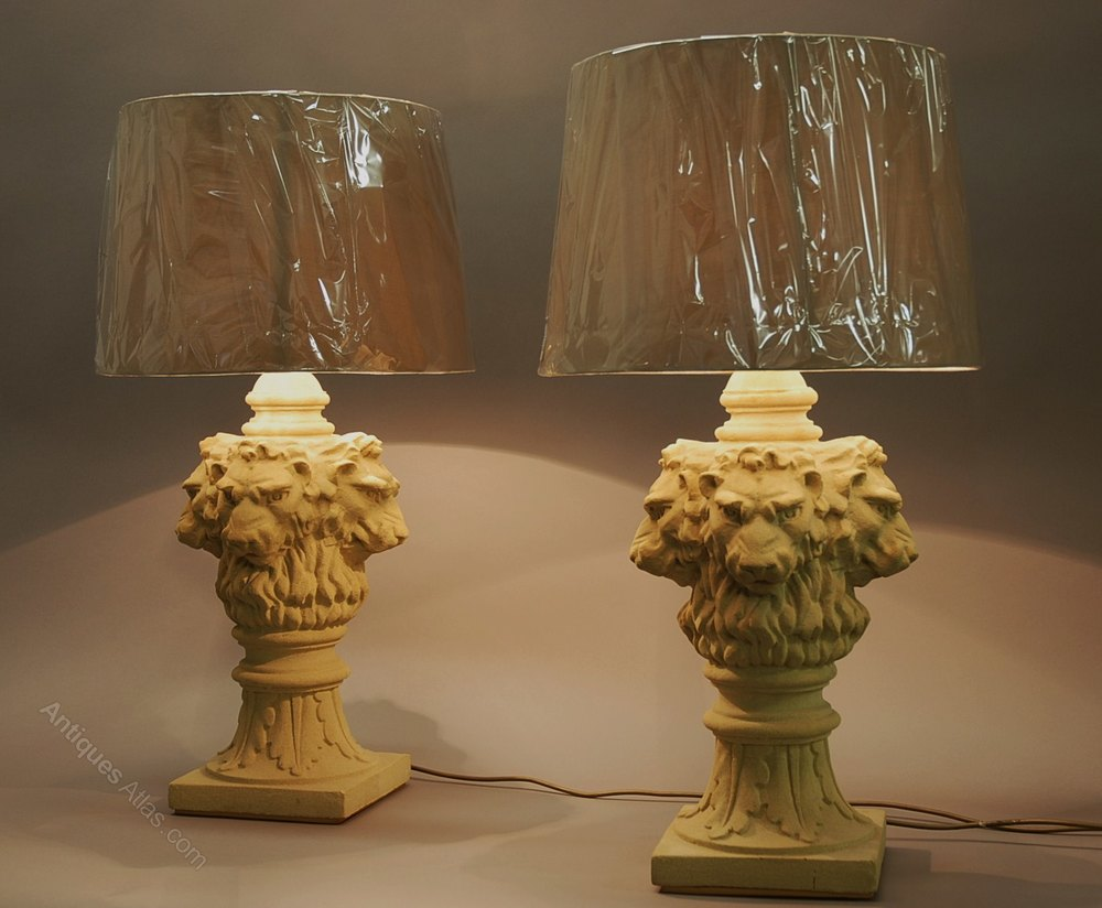 Antiques Atlas Pair Of Large Lions Head Table Lamps