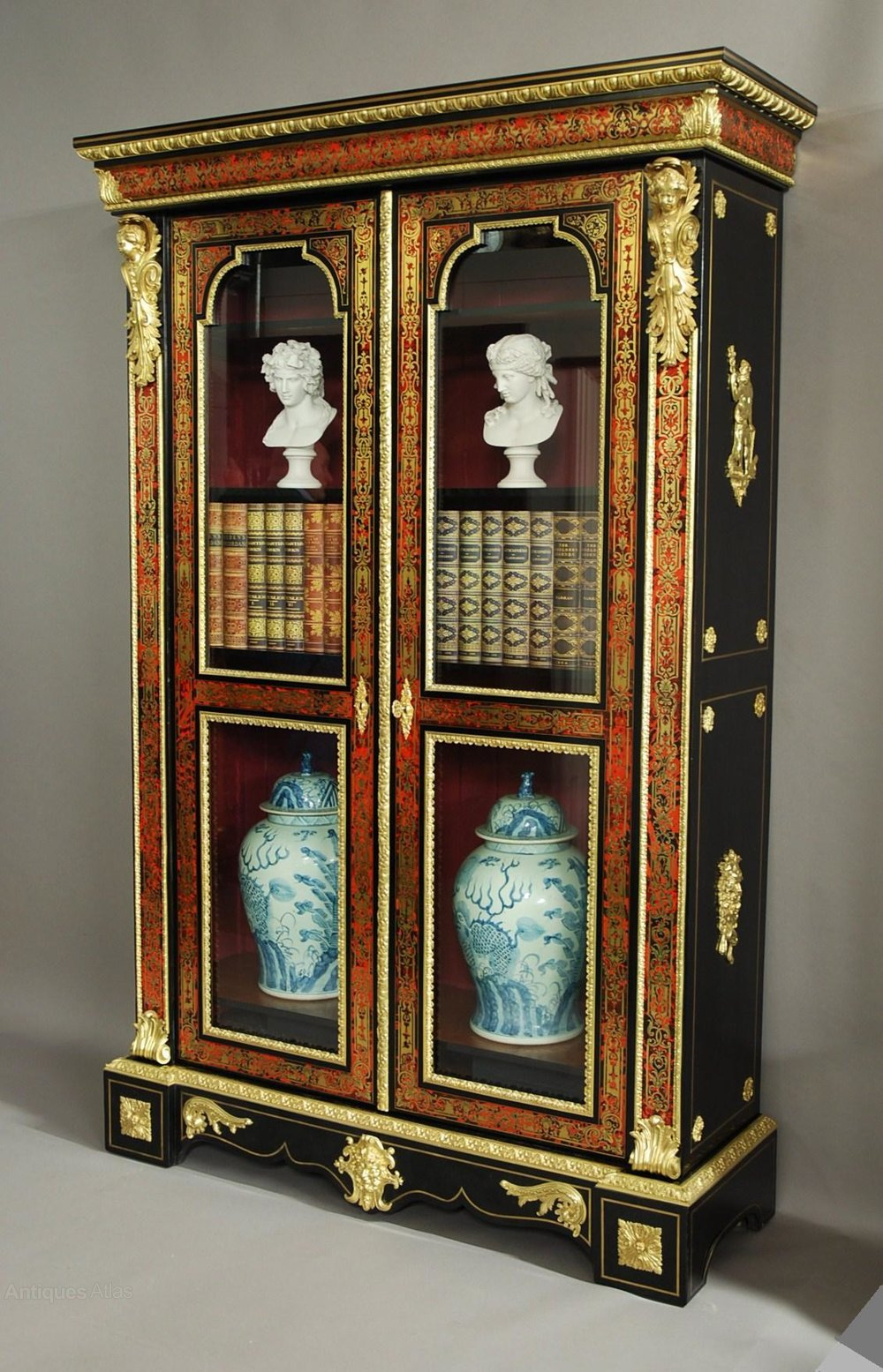 Superb French Napoleon Iii Boulle Bibliotheque Antiques