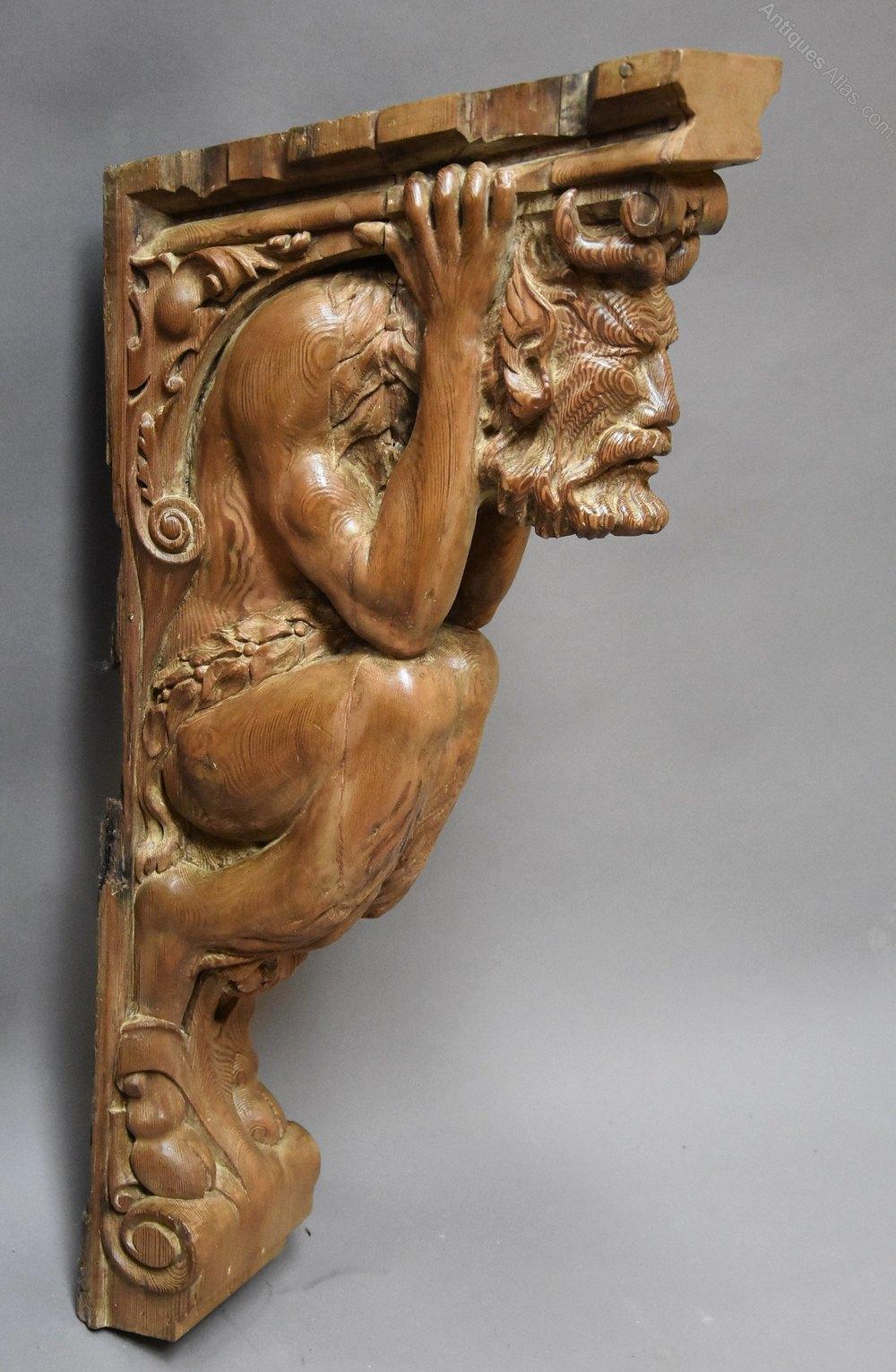 Antiques atlas superb large carved satyr pine bracket