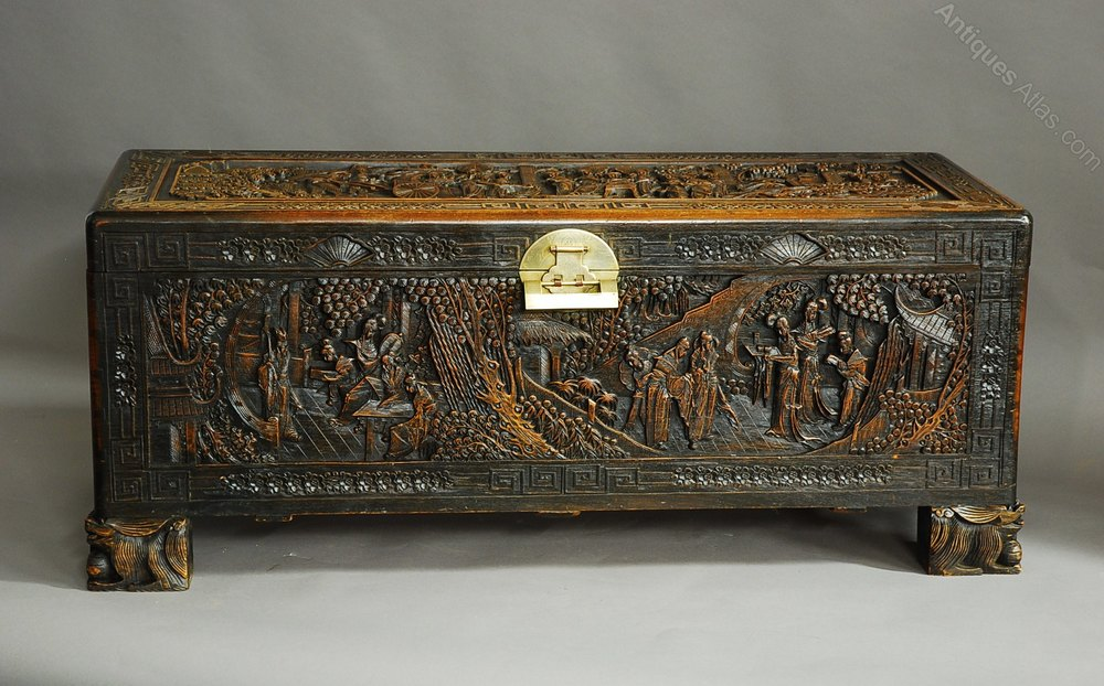 Large Superbly Carved Chinese Camphor Wood Chest