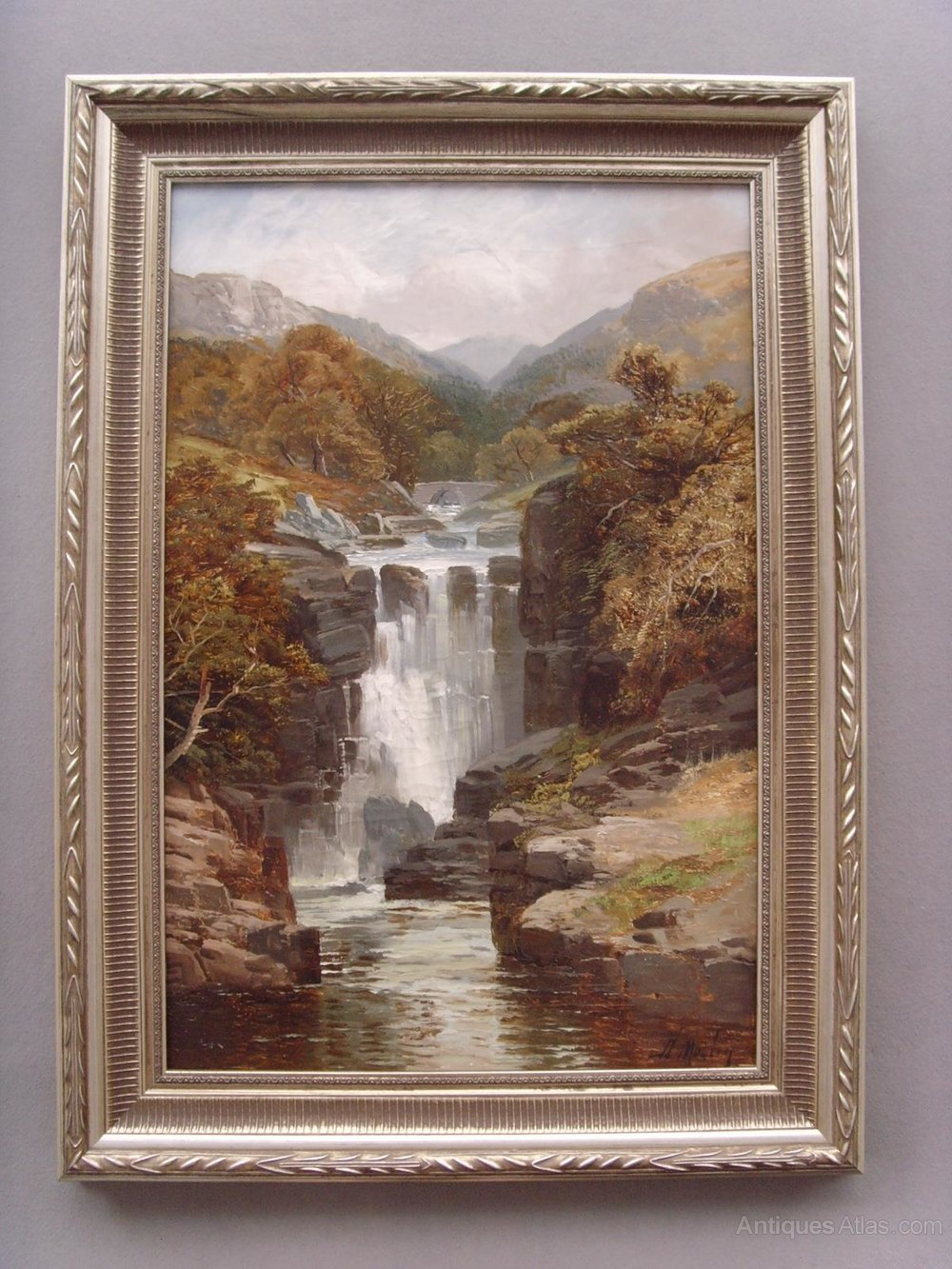 Antiques Atlas 19th Landscape Waterfall Oil Painting