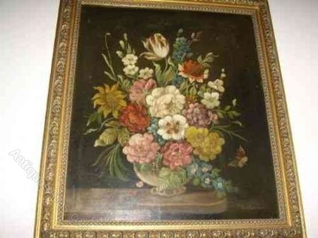 Antiques Atlas Dutch Flower Still Life Oil Painting By