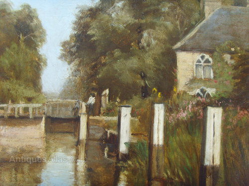 Antiques Atlas Oil Landscape Painting River Lock By