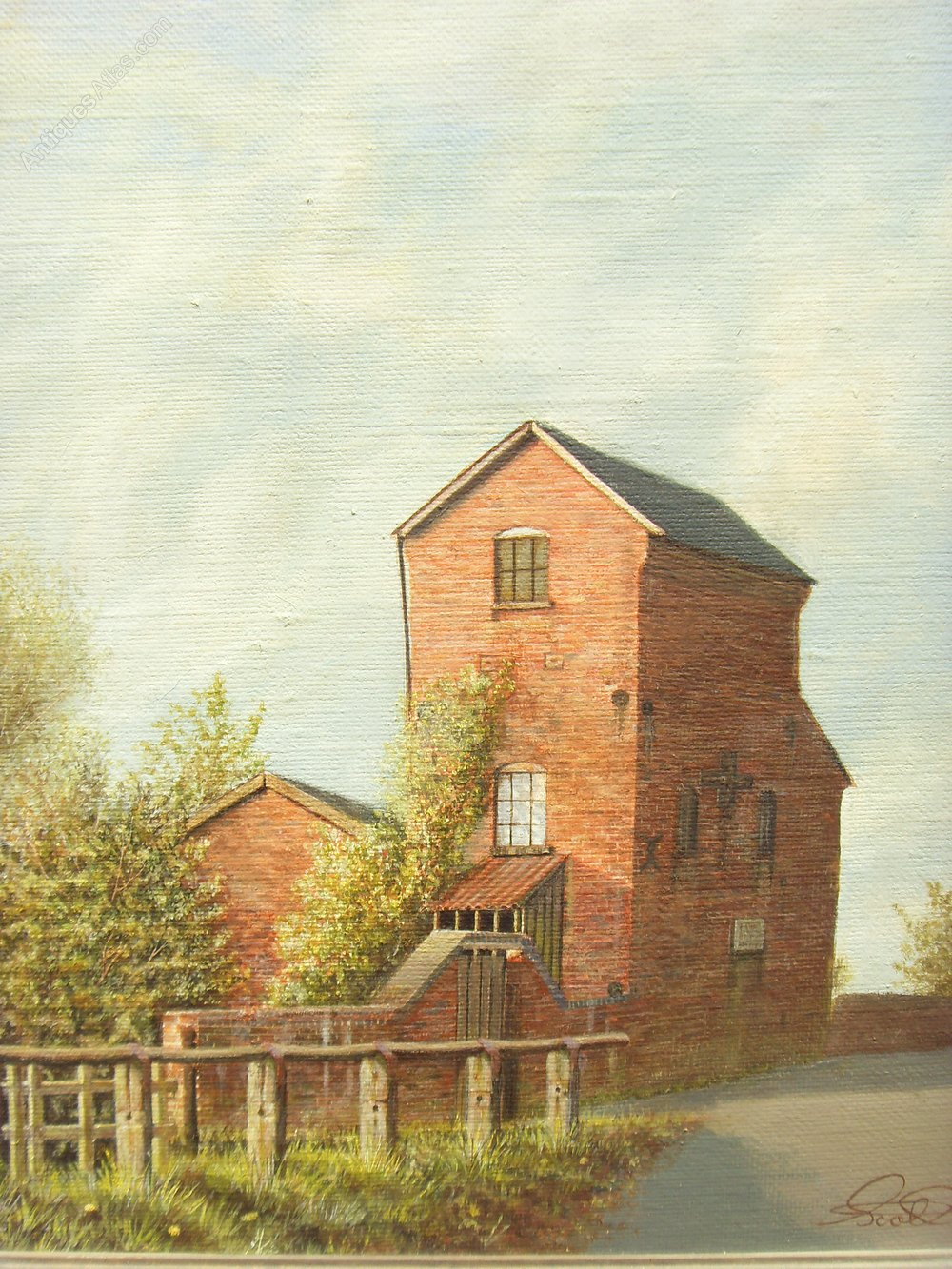 Antiques atlas oil painting earlswood pumphouse near for Oil paintings of houses