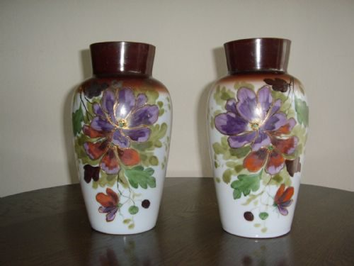 Victorian Hand Painted Glass Vases