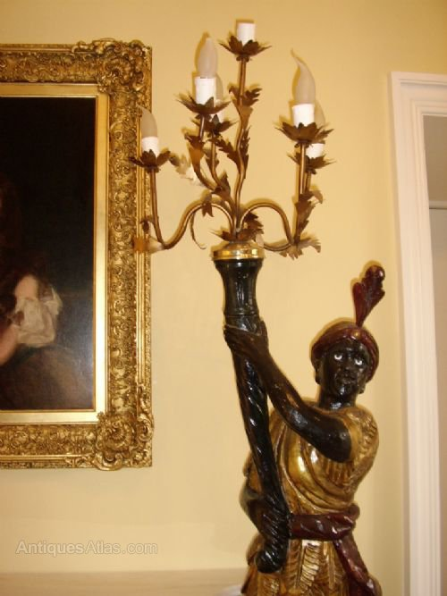 Antiques Atlas Pair Venetian Blackamoor Torchere Candlearbra